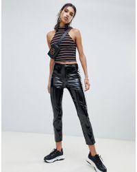NA-KD - Vinyl Trousers In Black - Lyst