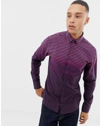 BOSS - Mabsoot Slim Fit Ombre Oxford Shirt In Purple - Lyst