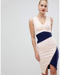 Vesper - Asymmetric Hem Pencil Dress In Colourblock - Lyst