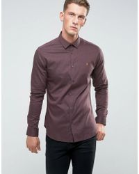 Farah - Slim Shirt In Hopsack And Button Down Collar - Lyst