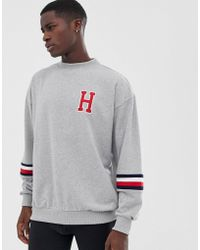 153ca920c Tommy Hilfiger - Sweatshirt With Forearm Stripe And H Logo In Gray - Lyst