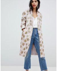 ASOS - Design Jacquard Slim Coat - Lyst