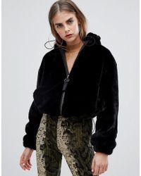 Bershka - Faux Fur Hooded Jacket - Lyst
