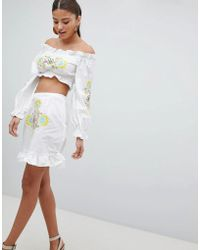 PrettyLittleThing - Floral Embroidered Skirt - Lyst