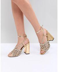 98acb2d7352 Carvela Kurt Geiger Gail Rose Gold Embellished Heeled Sandals in ...