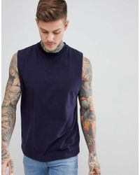 Boohoo - Tank With Cut Out Back In Navy - Lyst