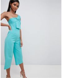 Lavish Alice - Twisted One Shoulder Wide Leg Culotte Jumpsuit - Lyst
