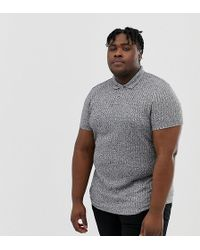 ASOS - Plus Polo Shirt With Button Neck In Interest Rib - Lyst