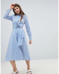Stradivarius - Stripe Cuff Button Front Shirt Dress - Lyst