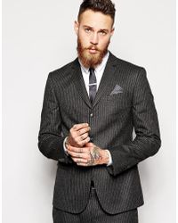 Asos Skinny Fit Suit Jacket In Pinstripe in Gray for Men | Lyst