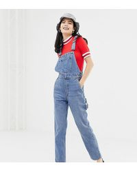 Monki - Denim Dungarees With Organic Cotton In Blue - Lyst