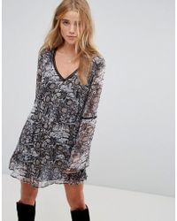 Wyldr | Show Me The Way Snake Charmer Printed Tea Dress With Trim Inserts | Lyst