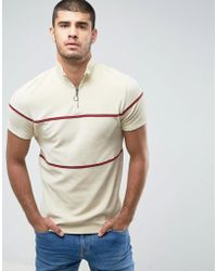 ASOS - T-shirt With Zip Neck In Towelling With Piping In Beige - Lyst