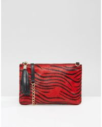Urbancode - Leather Pony Detail Clutch Bag With Optional Shoulder Strap - Re1 - Red 1 - Lyst
