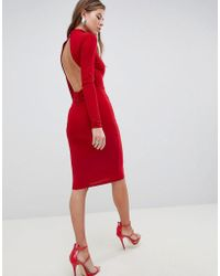 Club L - High Neck Ruched Detailed Open Back Slinky Midi Dress - Lyst