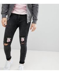 Liquor N Poker - Skinny Jeans With Love Rose Embroidered Knee Rips - Lyst