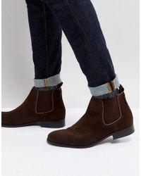 Ben Sherman - Chelsea Boots In Brown Suede - Lyst