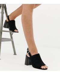 ASOS - Wide Fit Wrap Minimal Slingback Block Heeled Sandals - Lyst