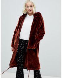 Monki - Faux Fur Zip Hooded Coat In Brown - Lyst