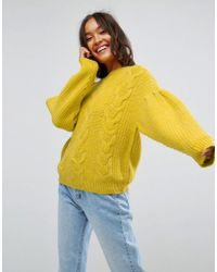 ASOS - Jumper In Cable With Volume Sleeves - Lyst