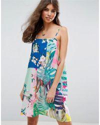 ASOS | Mix Print Drape Slip Dress | Lyst
