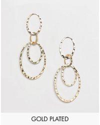 Pilgrim - Gold Plated Multi Hoop Drop Earrings - Lyst