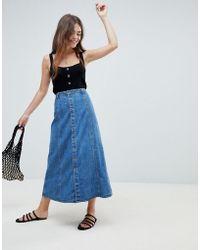 ASOS - Denim Button Through Midi Skirt In Midwash Blue - Lyst