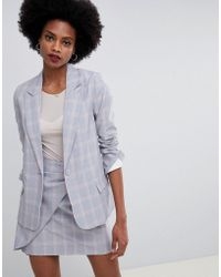 Oasis - Tailored Blazer In Gray Check - Lyst