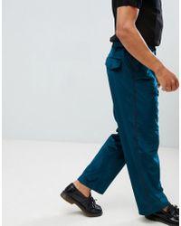ASOS - Velvet Wide Leg Smart Trouser With Side Stripe - Lyst