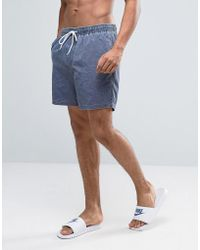 ASOS - Swim Shorts In Navy Acid Wash Mid Length - Lyst