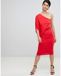 dd11881ea1c Lyst - ASOS Pencil Dress With Wrap Front in Natural