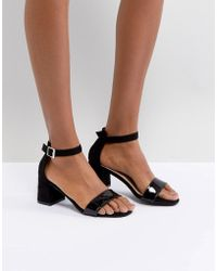Glamorous - Barely There Mid Heeled Block Sandal In Black - Lyst