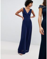 TFNC London - Wrap Front Maxi Bridesmaid Dress With Tie Back - Lyst