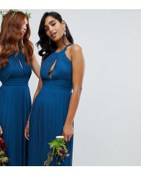 TFNC London - Pleated Bridesmaids Midi Dress In Petrol Blue - Lyst