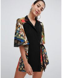96520dc33f99 ASOS Romper With Cape And Scarf Print Detail in Black - Lyst