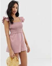 ASOS - Shirred Playsuit With Frill Sleeve - Lyst