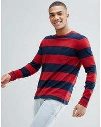 Abercrombie & Fitch - Crew Neck Pocket Long Sleeve Top Block Stripe In Red/navy - Lyst