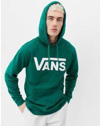 Vans - Large Logo Hoodie In Green Vn000j8negr1 - Lyst
