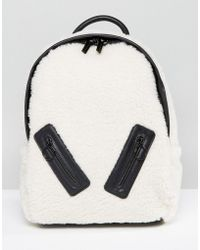 Skinnydip London - Faux Shearling Backpack With Zip Detail - Lyst