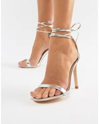 Glamorous - Silver Ankle Tie Heeled Sandals - Lyst