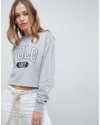 Polo Ralph Lauren - Oversized Logo Crop Sweatshirt - Lyst