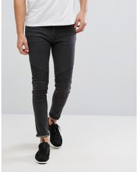 D-Struct - Biker Jeans In Washed Grey - Lyst