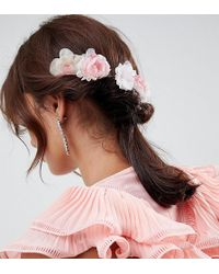 ASOS - Design Pack Of 4 Blush Floral Hair Clips - Lyst