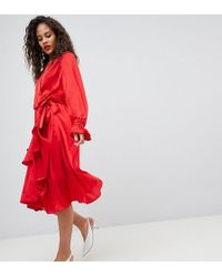 Y.A.S - Satin Wrap Dress With Ruffle Skirt - Lyst