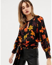 Mango - Floral Printed Blouse - Lyst