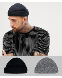 7eee90289ba ASOS - Mini Fisherman Beanie 2 Pack In Black   Twist Recycled Polyester  Save - Lyst