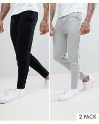 ASOS - Skinny Joggers 2 Pack Black/grey Save - Lyst