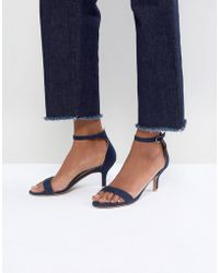 Glamorous - Navy Barely There Kitten Heeled Sandals - Lyst