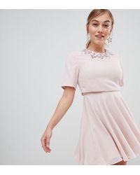 ASOS - Asos Design Petite 3d Crop Top Mini Dress - Lyst