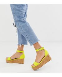 New Look - Suedette Flatform Sandal In Light Green - Lyst